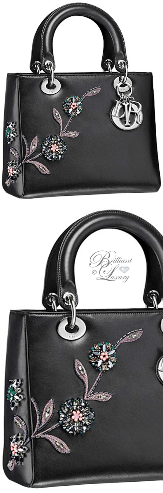 Brilliant Luxury ♦ Lady Dior embroidered black lambskin bag