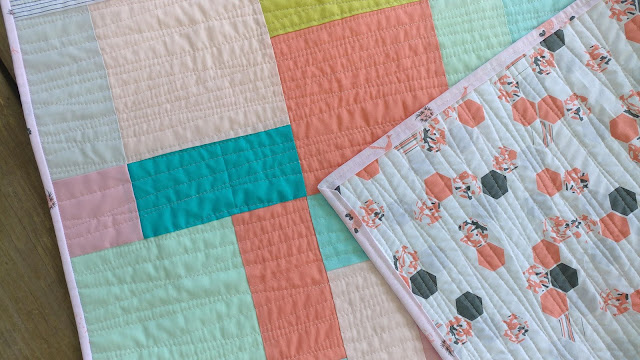 Baby quilt using Palm Canyon fabric by Violet Craft and Kona solids by Robert Kaufman
