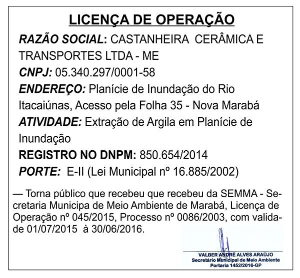 LICENÇA DE OPERAÇÃO - CASTANHEIRA CERÂMICA E TRANSPORTES LTDA