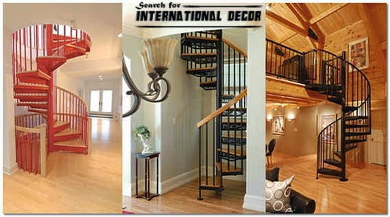 Spiral Staircase To The Second Floor Or Attic In A Private Home   Stairs To Second Floor Design   Bathroom Next   Space Saving   Square Shaped   Kitchen   Stairway