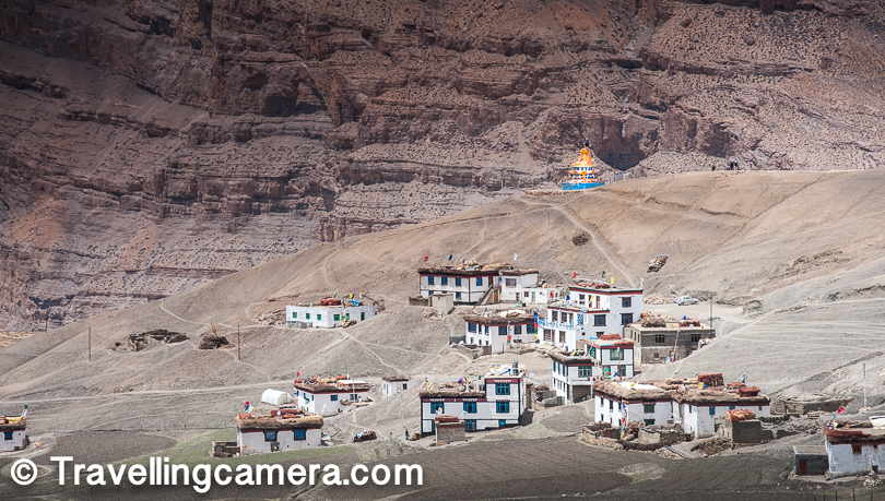 After the steep climb, we reached in pains on the top of the hill. We could see this huge statue of Budha for long time when we were driving towards Lagza village. What is see above is Lagza village. So Budhha is sitting on top hill near the village and all houses around are spread in surrounding hills of Langza. One can go close to this statute and drive down into the village.