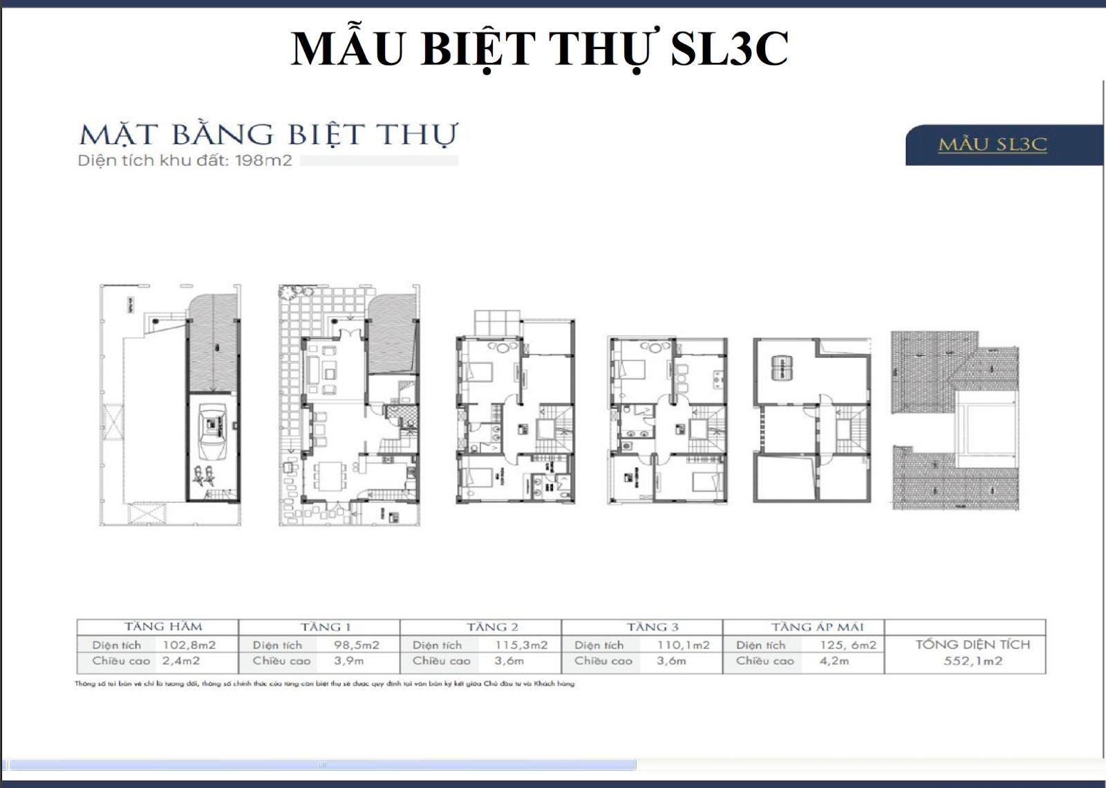 Mặt bằng biệt thự An Khang SL3C