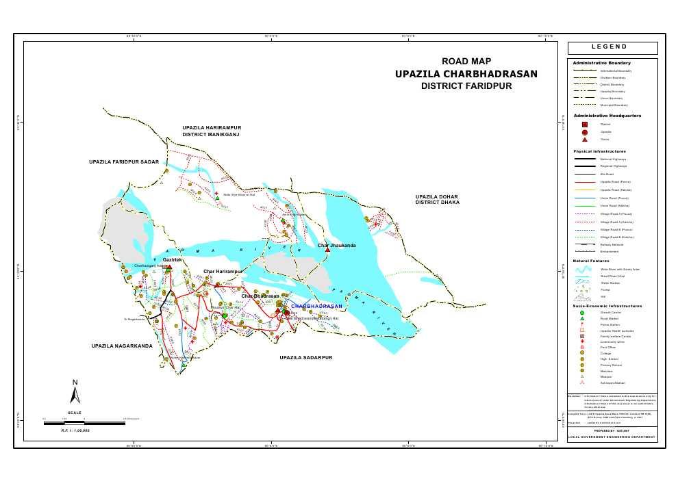 Charbhadrasan Upazila Road Map Faridpur District Bangladesh