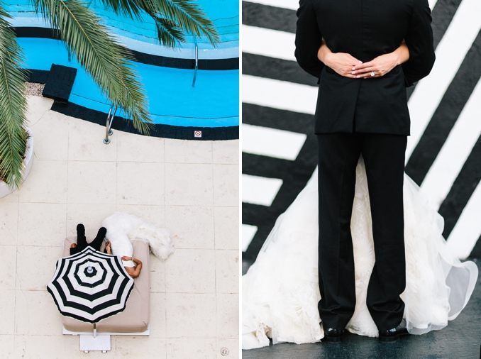 really cool graphic images with black and white stripes of the bride and groom
