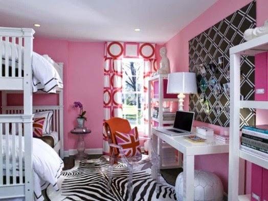 Dormitorio de chica en rosa y negro dormitorios colores - Habitacion juvenil chica ...