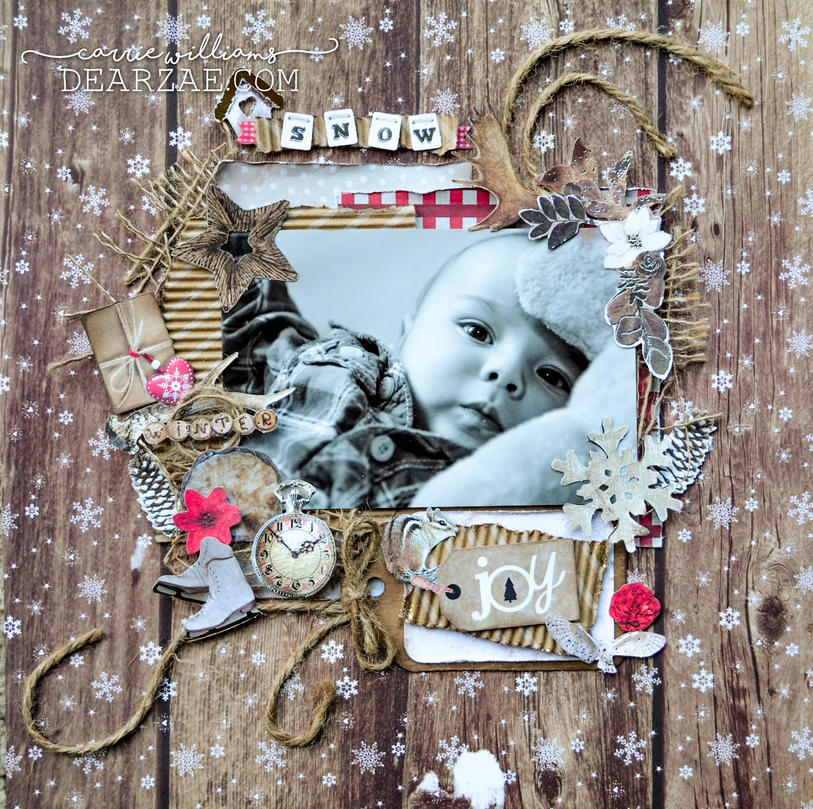 Rustic winter holiday Christmas scrapbook layout on woodgrain background, corrugated cardboard, burlap, jute, gingham plaid print, and snowflakes with die cuts including pinecones, wrapped packages, tags, owl, wood, clock timepiece, birdhouse, flowers, and ice skates