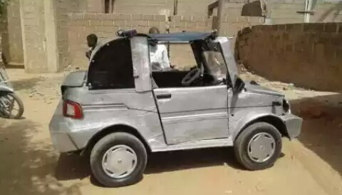 """A Talented Nigerian Man Uses Locally Sourced Materials To Construct His """"Unique"""" Car"""