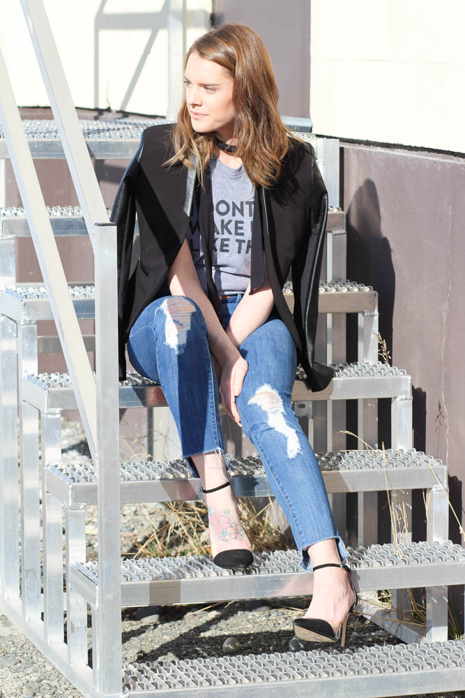 Graphic tee and jeans outfit