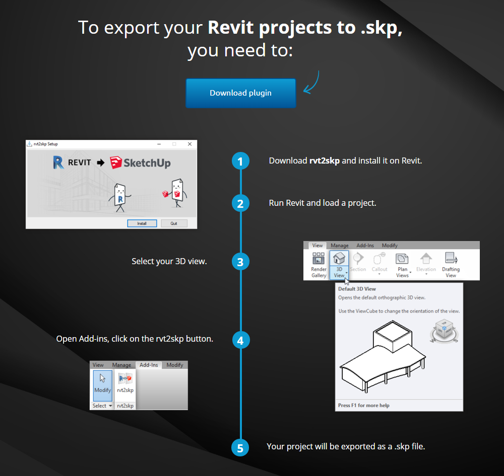 Free rvt2skp Add-in – Export Revit Models to Sketchup - Revit news