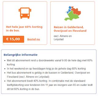 Actie korting in de Bus 40% tot 60% korting.