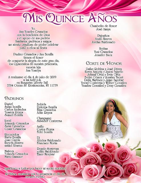 Invitación de 15 años novedosa rosada con rosas y listones personalizada con fotografía