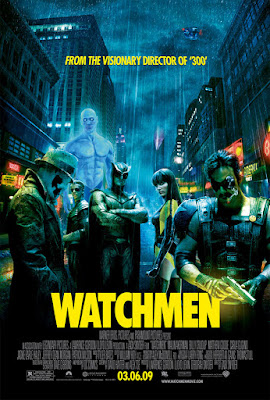 'Watchmen' movie poster with group shot of six main characters — Rorschach, Dr. Manhattan, Ozymandias, Nite Owl, Silk Spectre, and Comedian — on a rainy city street, dark with neon signs, the Owlship high above