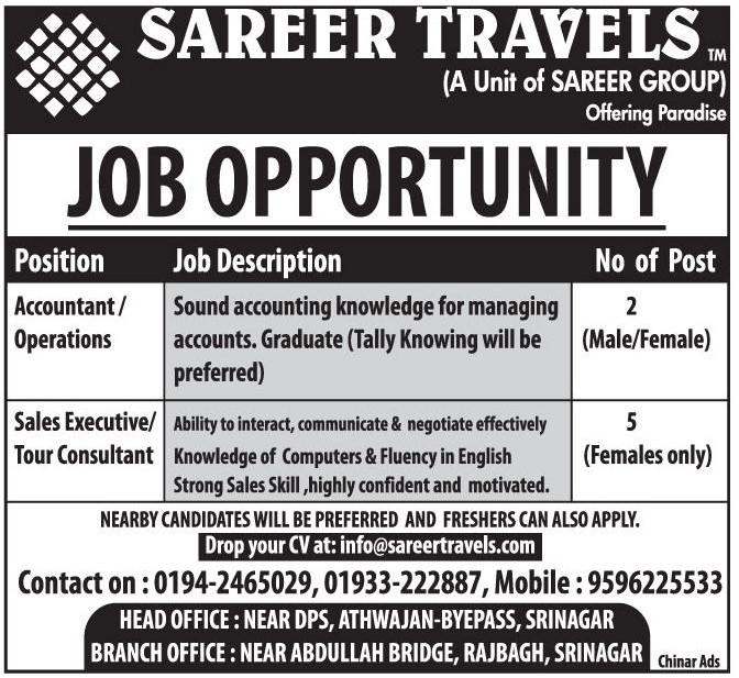 Job opportunities at Sareer Travels Srinagar