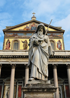 The statue of St Paul at the church of St Paul Outside the Walls in Rome