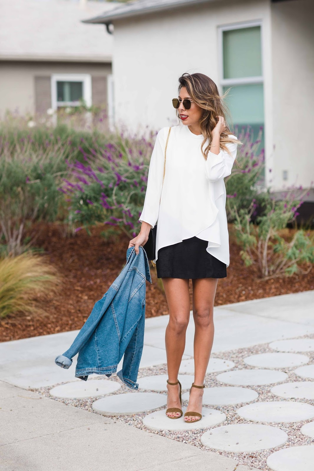 how to wear black mini skirt, ysl velvet bag, how to wear black and white outfit