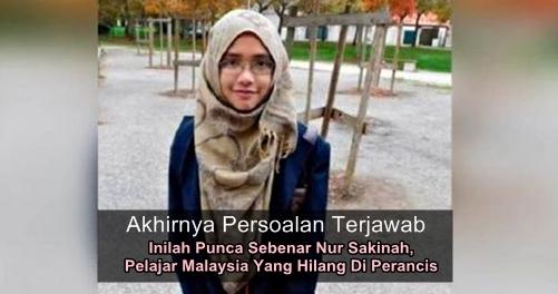kehilangan pelajar malaysia perancis nursakinah terjawab