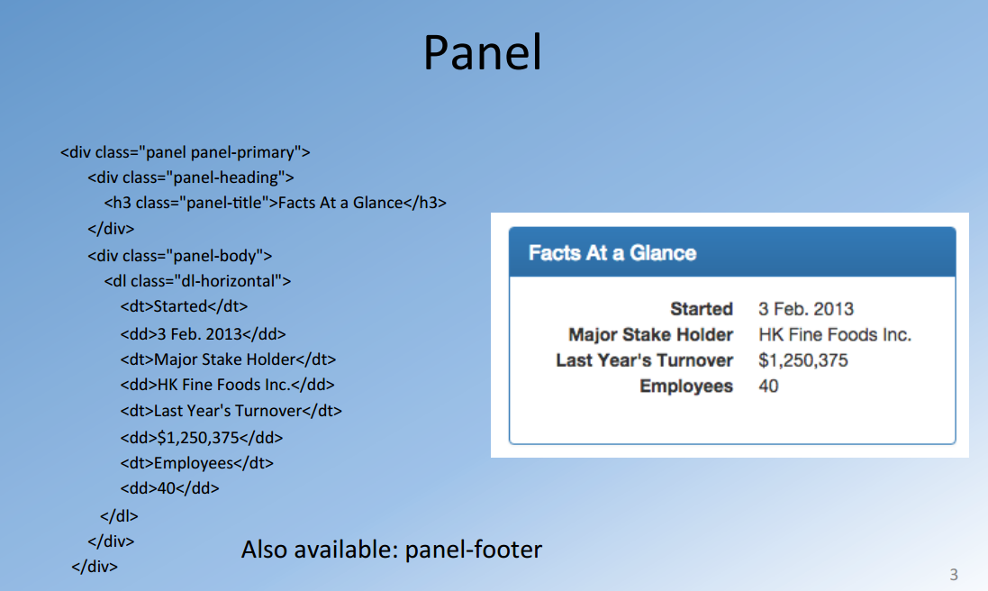 Bootstrap tables panels wells information technology lectures itlec r d for Table th bootstrap
