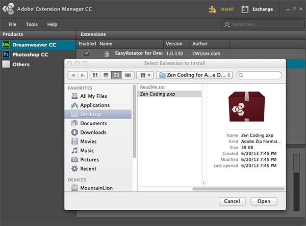Installing Zen Coding on Dreamweaver CC   w3bsmart