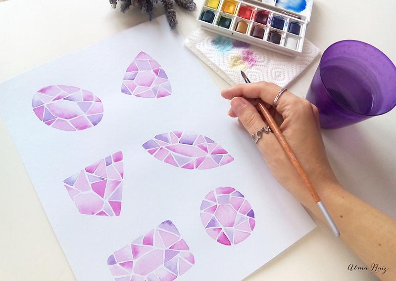 Ilustración de diamantes pintados con acuarela