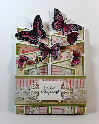 Our Daily Bread Designs Stamps sets: Belles Vignes, Butterfly and Bugs, Trois Jolies Papillons, ODBD Custom Dies: Trois Papillons, Butterfly and Bugs, ODBD Blushing Rose Paper Collection, ODBD Fun and Fancy Fold Cascade Card