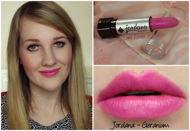 Jordana Geranium lipstick swatch