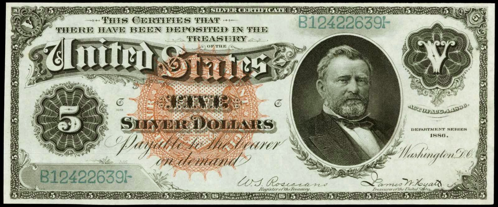 US currency 1886 Five Dollar Silver Certificate American President Ulysses S. Grant