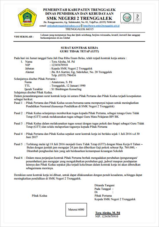 Contoh Surat Kontrak Kerja Guru Tidak Tetap Ggt Portal