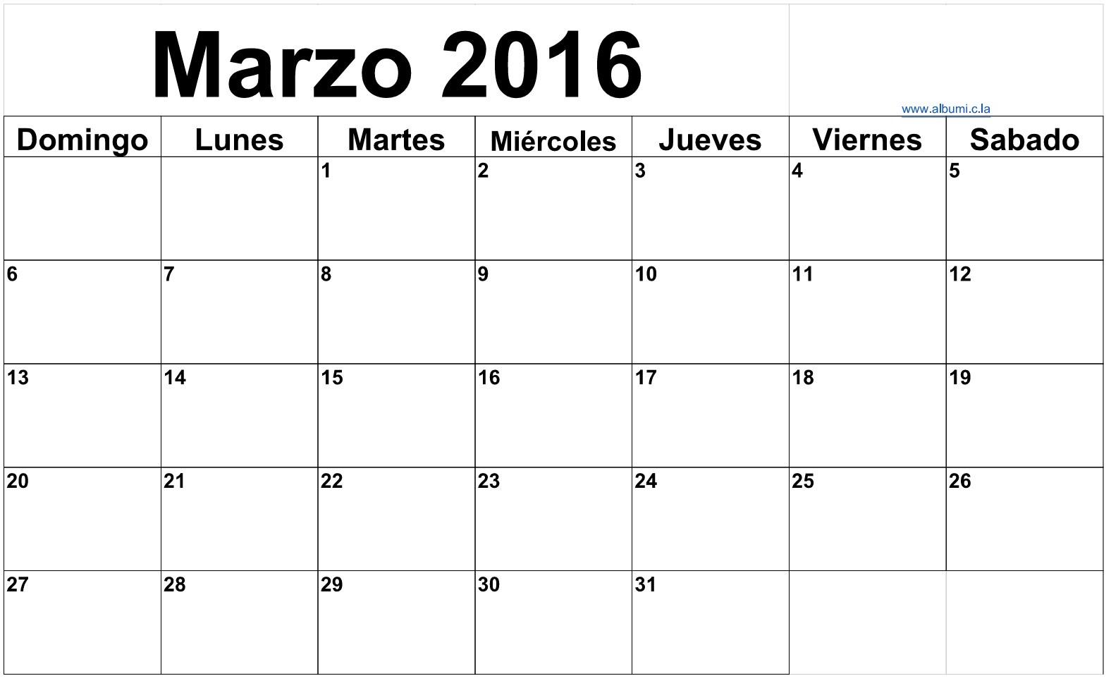 foto de Clendario marzo 2016 para imprimar 2016 Blank Calendar calendar enALBUMI C LA