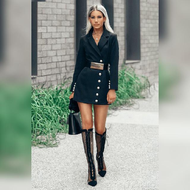 Μακρυμάνικο εντυπωσιακό  μαύρο φόρεμα KARMELINA