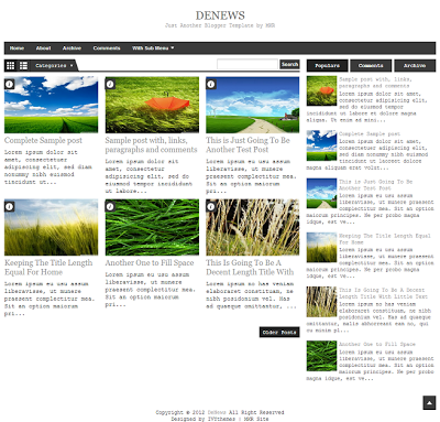 DeNews Grey Blogger Template