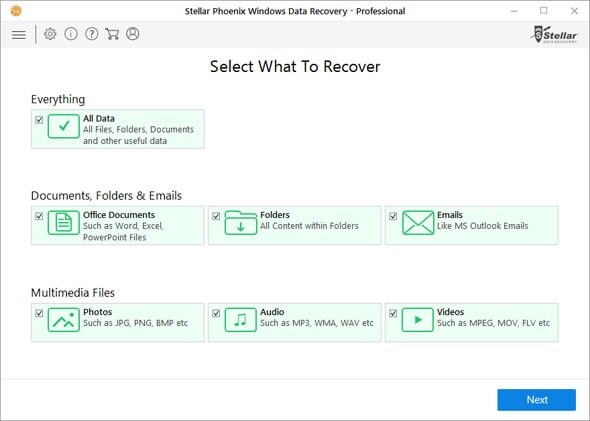 Select the type of data to be recovered