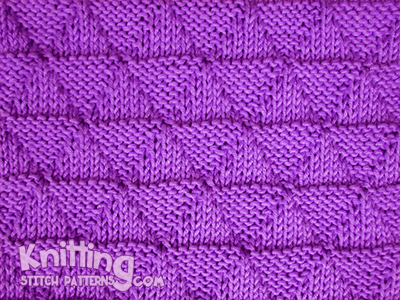 Pyramid knitting stitch - This is a reversible pattern that lies flat.