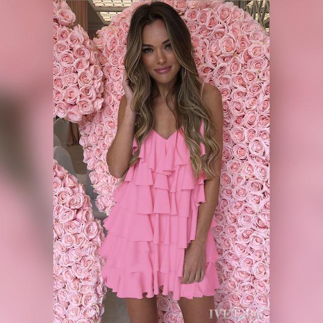 Εντυπωσιακό κοντό ανοιχτό ροζ φόρεμα PAVLA PUDRA