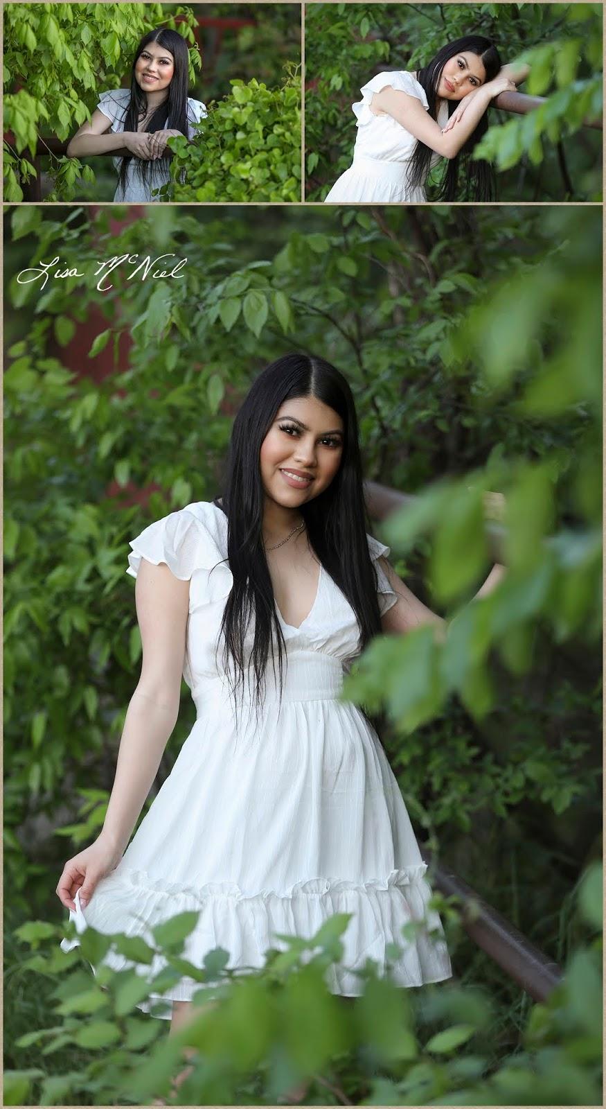 teen girl in white dress in greenery