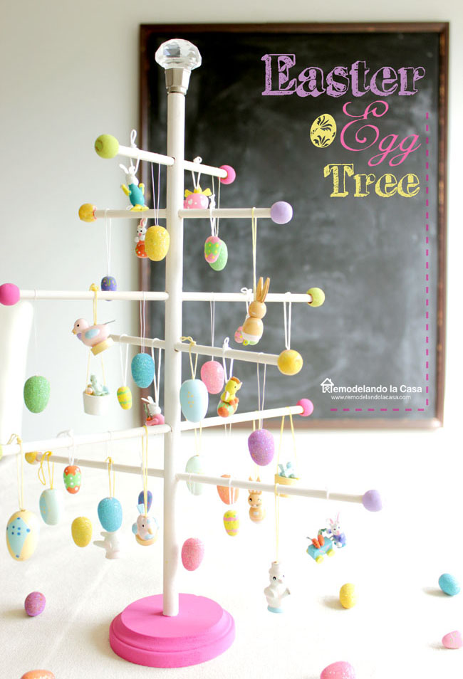 how to make an Easter egg tree from round dowels