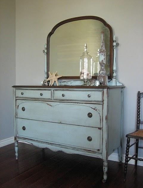 European Paint Finishes Blue Gray Mirrored Dresser