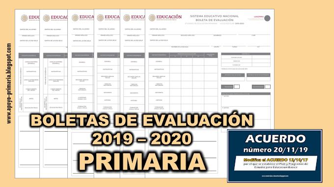 Boletas de Evaluación 2019 - 2020 para primaria