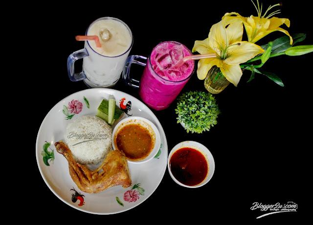 Set Nasi Ayam Kampung bersama minuman jus durian belanda dan Jus buah Naga