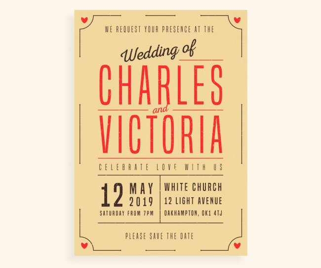 Wedding invitation in vintage style download
