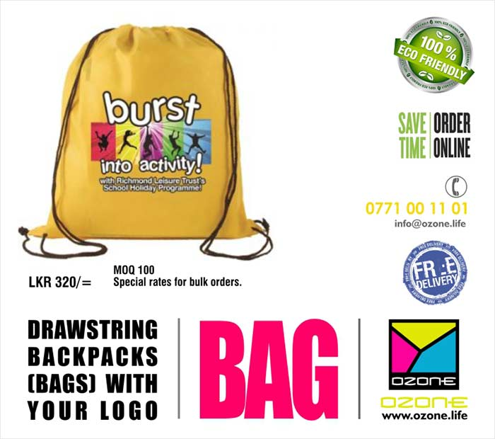 Drawstring backpacks (Bags) with your logo  More suitable for Promotional Gift, Exhibition gifts, CSR Projects etc  Made with high durable taffeta fabric. Lifetime non-fading print. ( Prices given for up to Three color prints 20cm x 20 cm ). Hard washable. More attractive and useful way to promote your brand. Minimum order quantity 100.  Prices: LKR 320/= ( Negotiable for bulk orders ).  Delivery with in 30 days. ( We have done more than 4000 pcs to one reputed bank and private university in Sri Lanka )