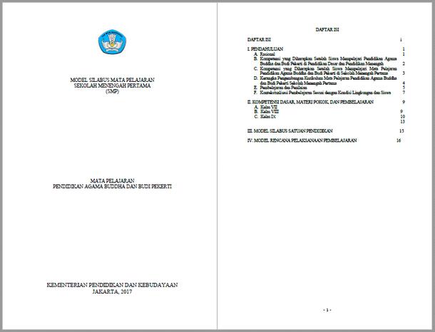Silabus RPP Pendidikan Agama Buddha dan Budi Pekerti SMP Kurikulum 2013 Kelas VII, VIII, IX