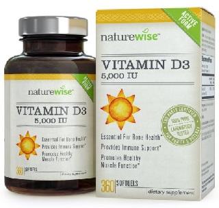 Image: NatureWise Vitamin D3 5,000 IU in Organic Olive Oil, Non-GMO, USP Grade, 360 count