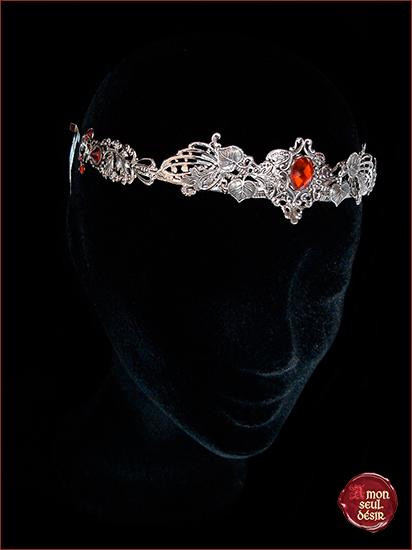 Couronne elfique printemps florale végétale argent rouge rubis médiéval renaissance reine princesse moyen âge