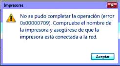 error 0x00000709 - impresora predeterminada