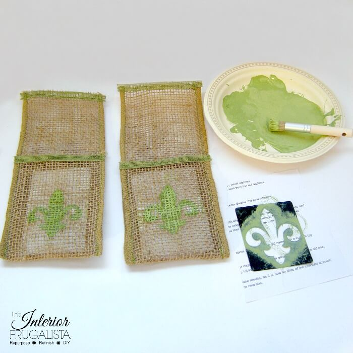 Spring Burlap Ribbon Cutlery Holders Stenciled