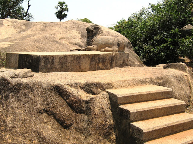 Dharmaraja stone carved lion - Mahabalipuram, india