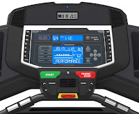 Nautilus T618 Treadmill's console with dual  STN blue-backlit LCD screens  & Bluetooth connectivity