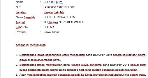 contoh surat pertanggung jawaban mutlak sptjm bsm pip ngintip sekolah