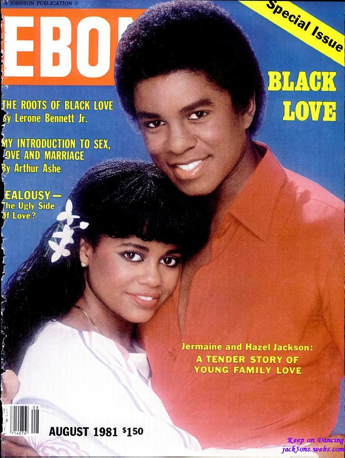 jermaine and his first wife hazel on the cover of ebony magazine in 1981