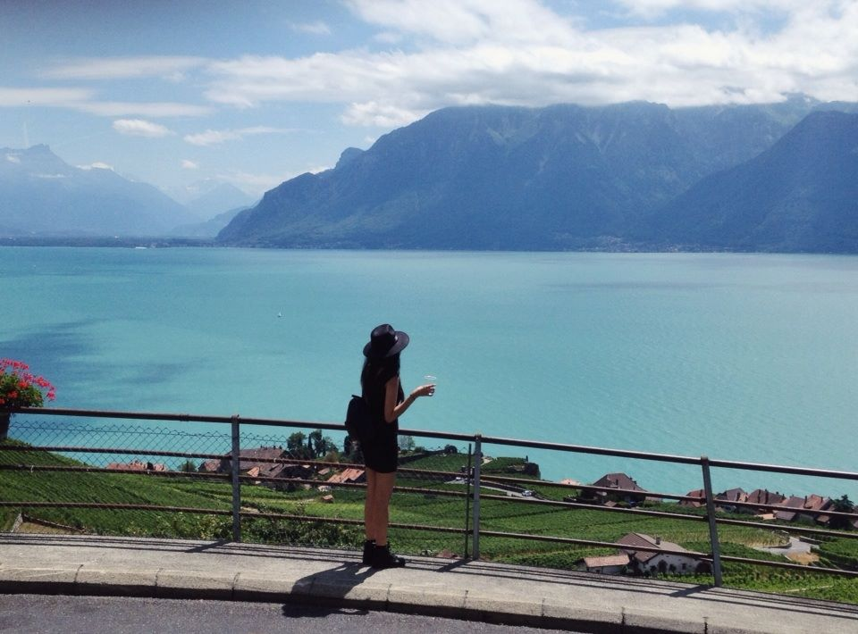 Drinking Wine at Lavaux Vineyard